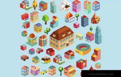多彩等距城市场景矢量插画v4 Colorful vector isometric city