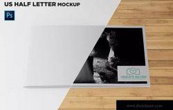 美国信纸尺寸宣传册封面印刷效果图样机