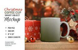 圣诞场景咖啡杯样机模板