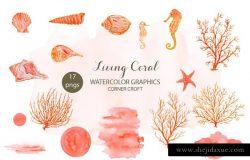 海洋生物水彩插画素材