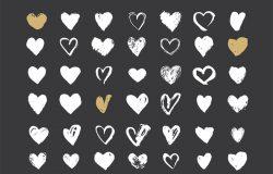一套情人节手绘心形图案矢量合集包 Set of Valentine's hand drawn hearts #167705