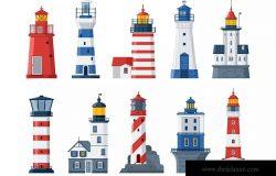 扁平设计风格灯塔和海上指示灯矢量图形素材 Flat Lighthouses and Sea Guide Lights