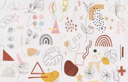 工匠级手绘抽象形状和线条艺术插画素材