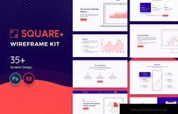 简约设计风格Web网站设计相框图设计套件 Square+ Web Wireframe Kit