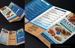 三折页海鲜菜单设计模板 Trifold Seafood Menu
