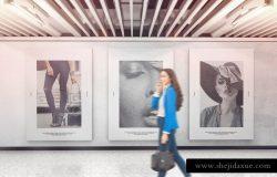 室内广告海报展览墙样机