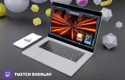 Twitch游戏流媒体视频平台界面框图层设计模板
