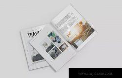 极简主义杂志排版设计样机模板