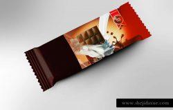 巧克力食品包装贴图模版 Chocolate Bar Packaging Mockup