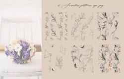线条艺术花卉婚礼剪贴画素材