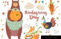 感恩节可爱动物手绘矢量图形素材 Thanksgiving set with cute forest animals, leaves