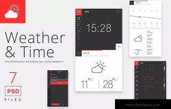 天气&时间APP应用界面设计PSD模板 Weather and Time App PSD
