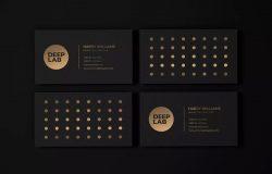 豪华黑金风格名片设计样机模板