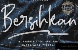 个性的水彩签名SVG手写签名字体下载 Bersihkan – Watercolor Signature SVG