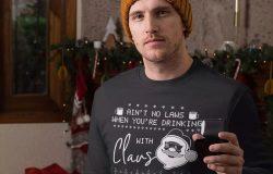 情人套装圣诞节主题T恤圣诞老人印花图案设计素材 Santa Christmas Ugly Print Template, TShirt Design