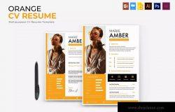 橙色设计风格个人简历&推荐信模板