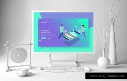 时尚清新的白色质感的Surface Pro UI样机展示模型mockups智能样机