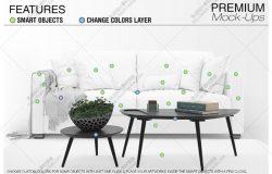 家居布艺沙发抱枕印花图案效果图展示智能贴图样机PS分层素材设计