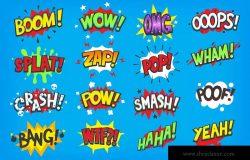 动漫对话气泡矢量图形设计素材 Onomatapoeia. Comic speech bubbles