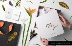 绿色植物花卉装饰印刷品品牌样机 Floral Packaging and Branding Mockups
