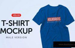 男士标准款T恤胸前印花设计效果图样机模板03 T-Shirt Mockup