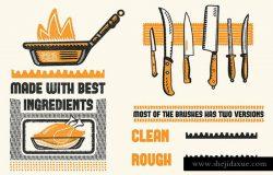 复古木刻印刷绘画风格AI笔刷 Cookbook for Woodcuts – brushes and patterns