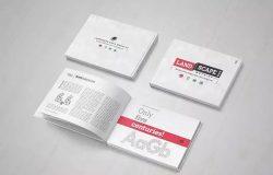 精装企业画册产品目录设计展示样机模板 Landscape Book Mock-Up Set