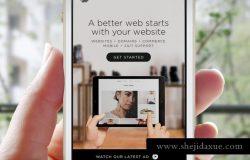 手机APP应用UI设计演示样机模板2 App UI Close-Up White iPhone Mock-Up PSD