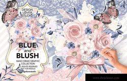 蓝色&腮红水彩花卉插画设计素材 Watercolor BLUE and BLUSH design