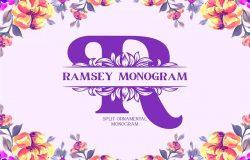 浪漫带花边英文字母组合衬线字体 Ramsey Split Monogram Font