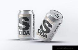 苏打水品牌易拉罐包装外观设计样机 Soda Can Mock-Up