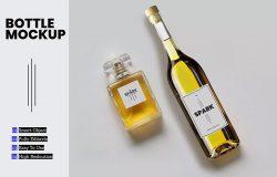 化妆品香水&酒瓶标签设计样机