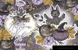 万圣节之夜节日主题水彩手绘剪贴画PNG素材 Halloween Night design