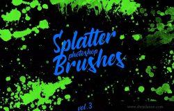 墨水飞溅泼墨图案纹理PS笔刷v3 Splatter Stamp Photoshop Brushes