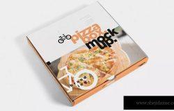 披萨包装盒设计多角度效果图样机模板 5 Pizza Box Mockups