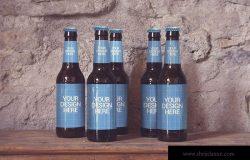 啤酒瓶外包装设计样机模板 5 Perspectives Bottles
