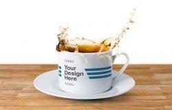 液体飞溅状马克杯杯身品牌效果样机 Tea Cup Splash Mockup