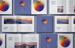 方形目录产品画册设计效果图样机 Square Catalogue Mockup