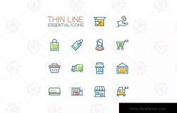 电商购物&物流配送主题矢量图标合集 Shopping and Delivery Symbols – thin line icons