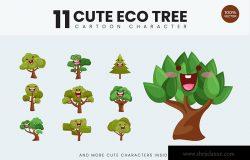 11款卡通风格生态树矢量图形插画素材