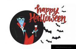 万圣节节日海报卡通人物矢量插画 Happy Halloween poster with a cartoon character