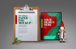 圣诞A4传单剪贴板&平板电脑样机