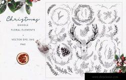 60+圣诞节主题手绘涂鸦花卉元素 Christmas Doodle Floral Elements