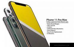 iPhone 11 Pro手机悬浮正/背面视图样机模板 iPhone 11 Pro Layered PSD Mock-ups