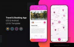 旅游&酒店预订APP应用UI界面设计套件 Travel & Booking App iOS & Android UI Kit Template