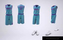 篮球制服球衣和短裤样机