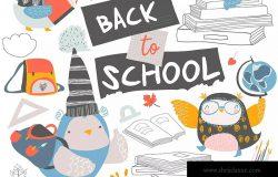 可爱卡通猫头鹰矢量手绘图案开学季设计素材 Set of cute owls with books. Back to school.