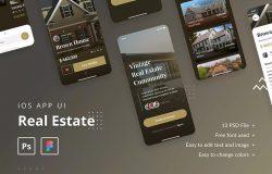 房产租赁销售APP商城UI设计套件 Real Estate iOS App UI Template PSD & Figma