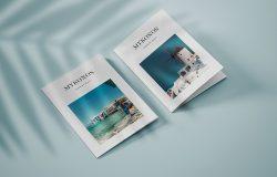 纵向规格双折页小册子封面设计样机模板