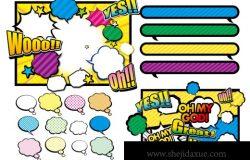 日式卡通动漫对话框高饱和度矢量插画